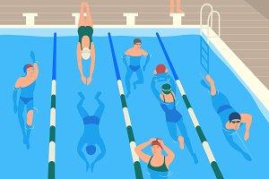 Swimming pool flat illustration