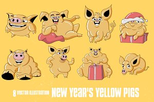New Year's yellow pigs