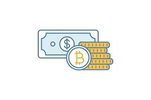 Bitcoin coins and dollar color icon