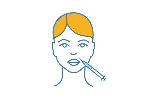 Lips neurotoxin injection color icon