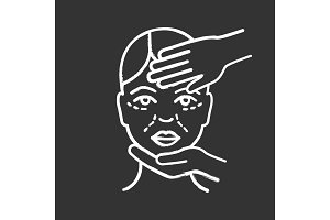Cosmetologist examination chalk icon