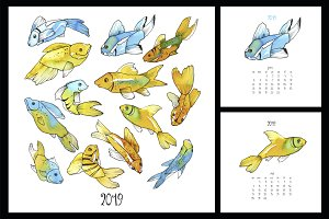 2019 Calendar with watercolor fish