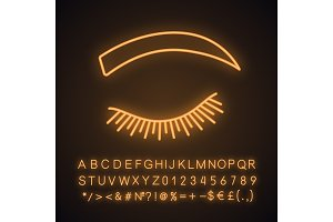 Rounded eyebrow shape neon icon