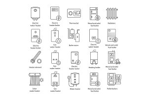 Heating linear icons set