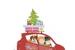 Christmas family trip by car