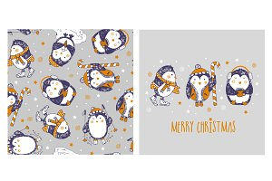 Penguins pattern and card.