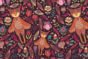 Owl girl seamless pattern