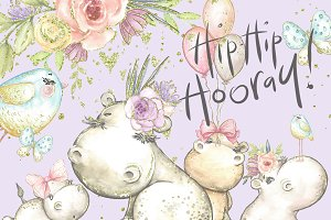 Hippo clipart, cute, watercolor