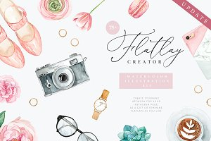 Flatlay Creator. Watercolor kit