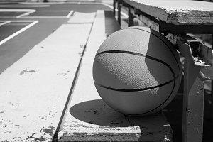 basketball in bleachers.