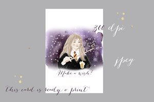 Harry potter watercolor card