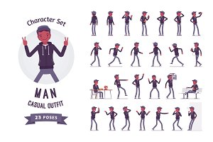 Young black man character set