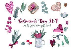 Valentine's watercolor set
