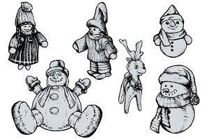 Christmas Puppets - Hand Drawn