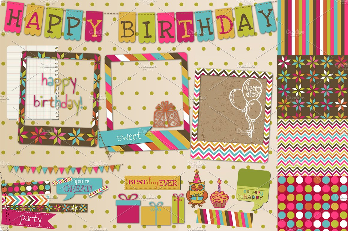 Happy Birthday Scrapbook Set Pre Designed Illustrator Graphics Creative Market
