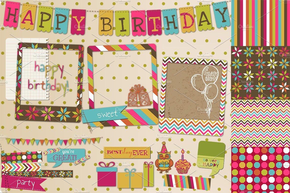 Happy Birthday Scrapbook Set Illustrations Creative Market