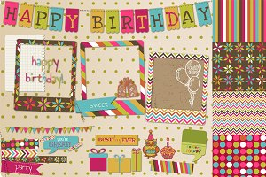 Happy Birthday Scrapbook Set