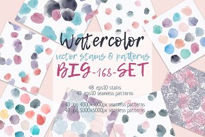 Watercolor vector stains & patterns