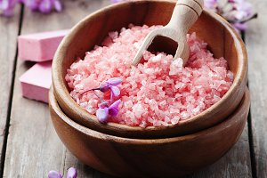 Spa concept with pink salt,