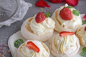 baked cakes of whipped egg whites