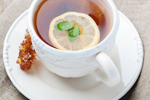 Hot tea with lemon and mint