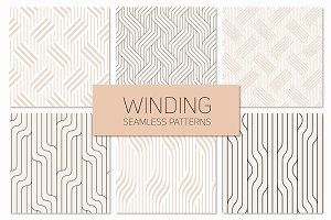 Winding Seamless Patterns. Set 3