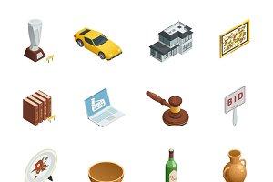 Auction isometric icons set