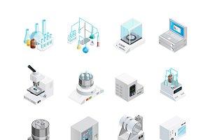 Laboratory equipment icons set