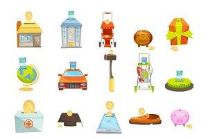 Money box concept icons set