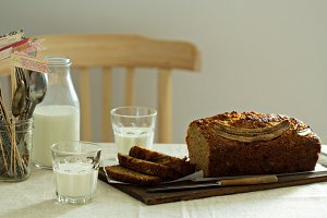 Banana bread with milk