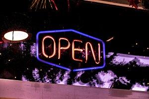 neon 24 hours open logo sign glowing