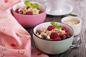 Berries with crumble topping