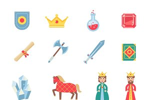 Medieval games flat icons set