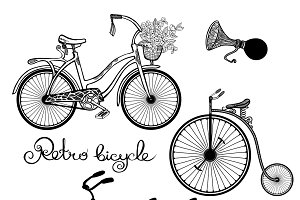 Retro bicycles hand drawn set