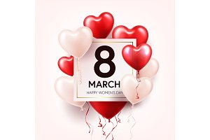 Women s day red background with