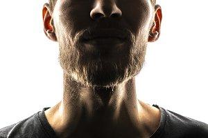 close up man's face with beard, dark