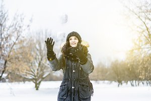 female teenager walking in the snowy