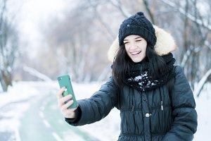 young woman portrait doing selfie, s
