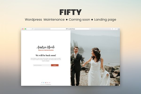 WordPress Landing Page Themes: NiteoThemes - CMP Fifty - Maintenance Landing Page