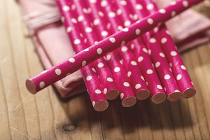 Pink colour drinking straws