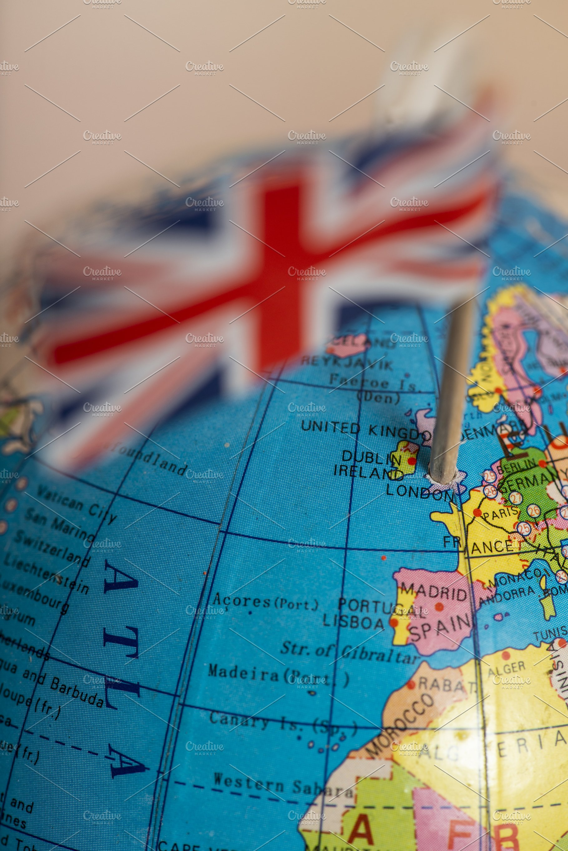 Map Of Uk On Globe.British Flag On The World Map Points Business Photos Creative Market