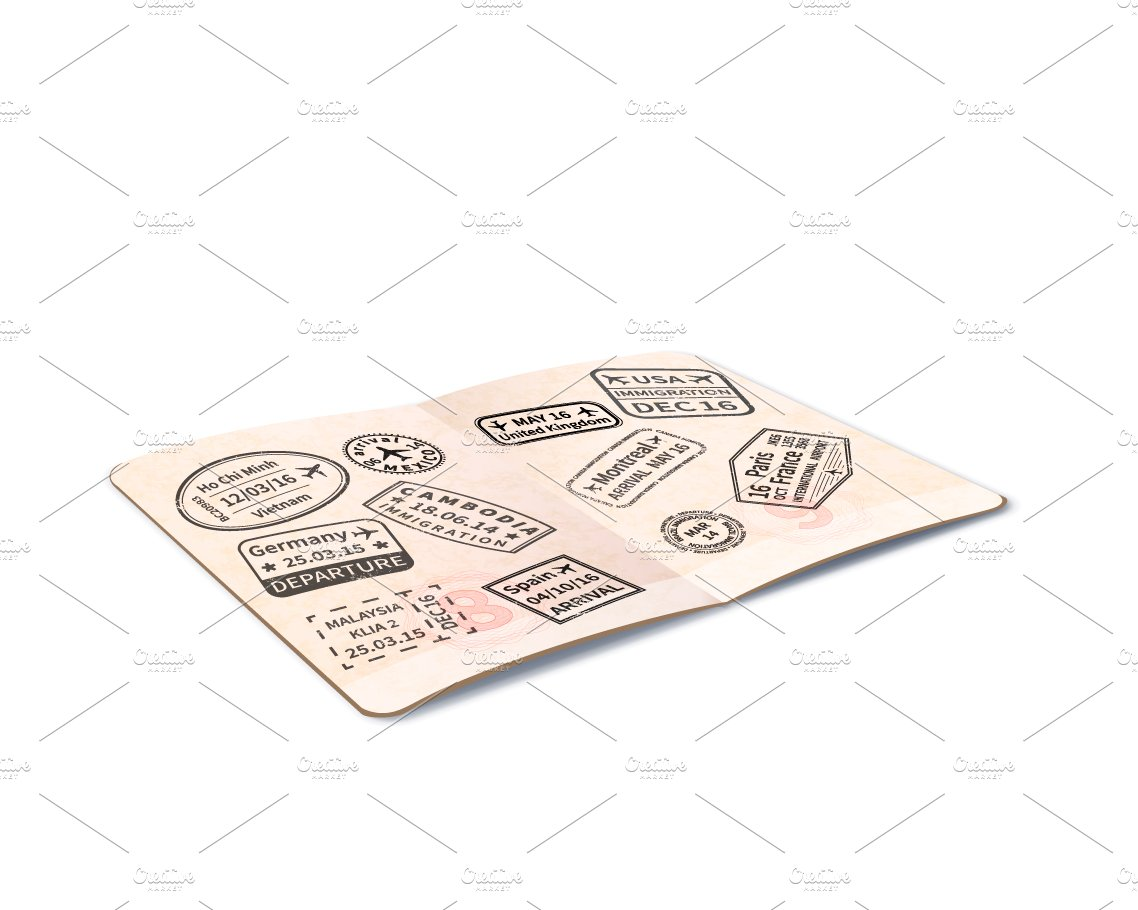 open foreign passport  predesigned photoshop graphics