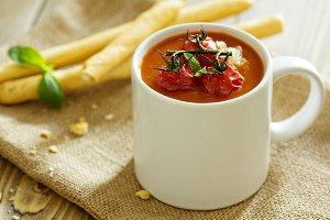 Tomato soup in a mug