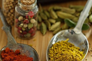 Variety of spices and herbs
