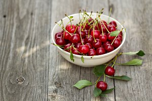 Fresh sour cherry in a bowl