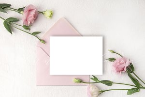 Wedding mockup with blush flowers