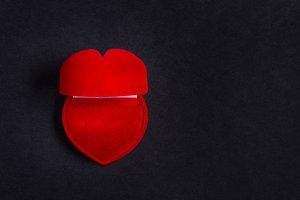 Red velvet jewelry box, heart shaped