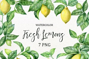 Watercolor Lemons Clipart.