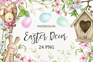 Watercolor Easter Decor Clipart.