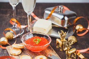 Canape with red salmon caviar
